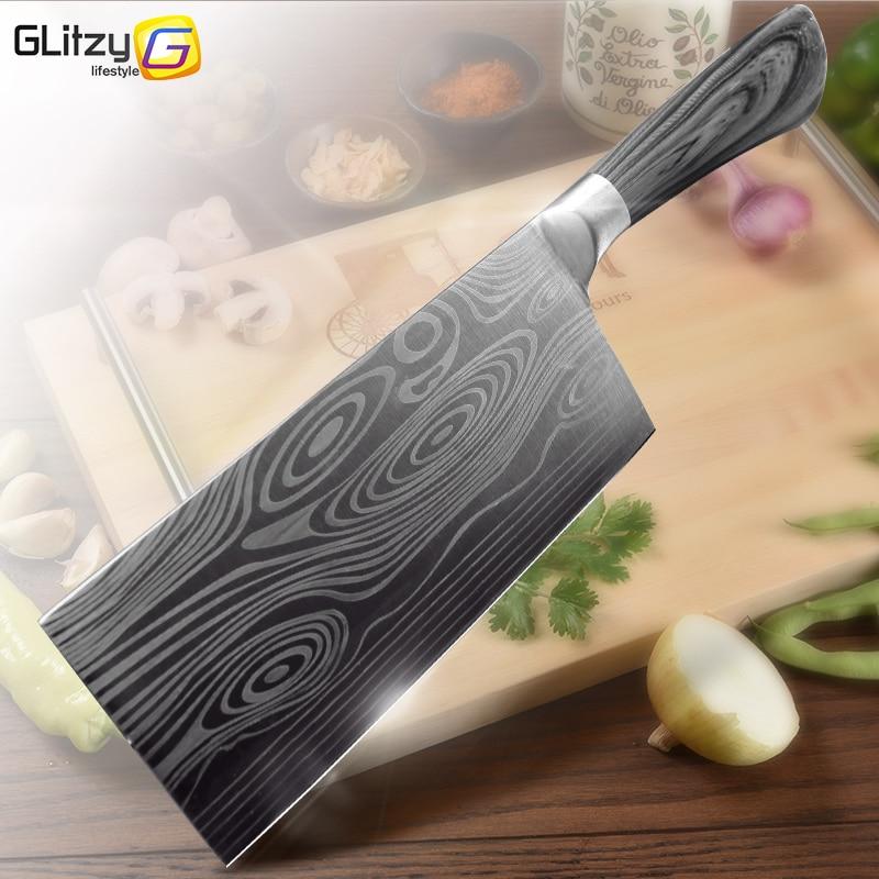 Keukenmes 5 7 8 Inch 7Cr17 440C Rvs Utility Cleaver Koksmes Damascus Tekening Vlees Santoku Koken Tool set