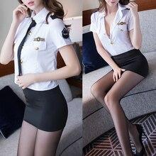 Erotyczne jednolite biuro kostiumy dla kobiet w paski Top i czarną spódnicę wybrać seksowna bielizna gorąca pokojówka Role Play Cosplay