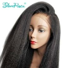 130% צפיפות קינקי ישר רמי פרואני Hair13x4 תחרה מול שיער טבעי פאות לנשים שחורות מראש קטף Slove רוזה