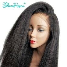 130% yoğunluk Kinky düz Remy perulu Hair13x4 dantel ön İnsan saç peruk siyah kadınlar için ön koparıp çözmek Rosa
