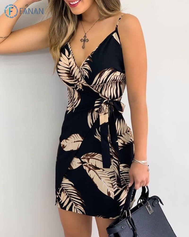 FANAN V Neck Leaf Print Mini Summer Dress Women Spaghetti Strap Casual Holiday Beach Dress