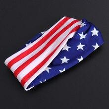 Turban Elastic America for Patriotic Event Assorted-Color Headdress 2pcs Usa-Flag 2pcs