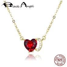 Женское ожерелье из серебра 100% пробы с кулоном в виде сердца