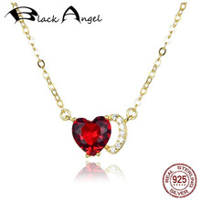 New 100% 925 Sterling Silver Connected Couple Heart Red CZ Gold Color Necklaces Pendant For Women Fine Jewelry bisaer authentic 925 sterling silver gold color mosaic red cz heart pendant necklace for women valentine s gifts jewelry gan014