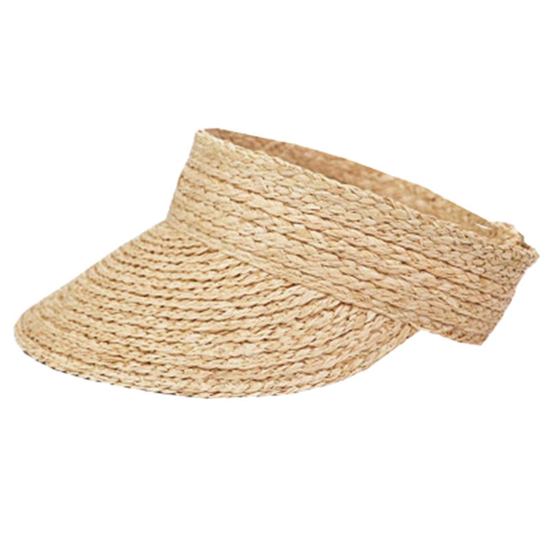 Ladies Anti-Uv Roll Up Sun Visor Hat Women Straw Raffia Sun Visor Caps