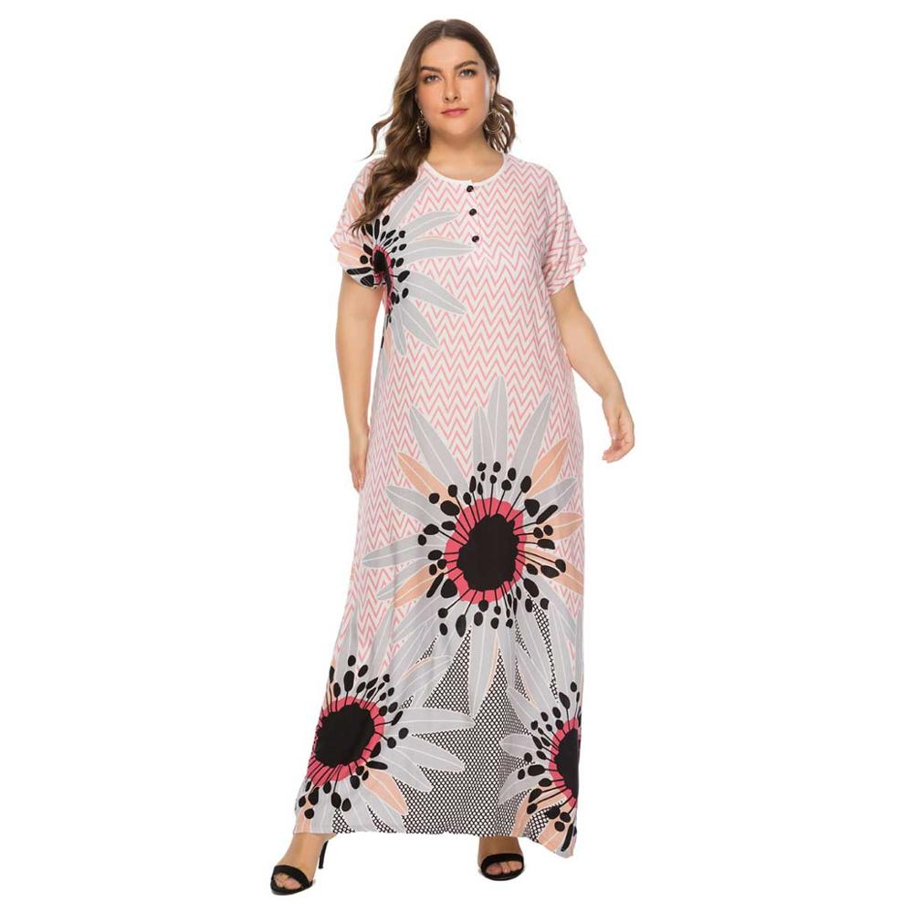 2019 Plus Size Tribal Floral Print Boho Dress Women Summer Tunic Short Sleeve Straight Shift Geometric Maxi Dresses VKDR1607