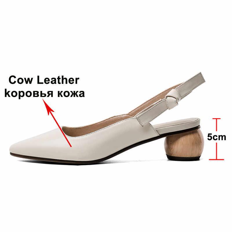 Meotina 하이힐 여성 Slingbacks 신발 자연 정품 가죽 이상한 스타일 발 뒤꿈치 신발 암소 가죽 지적 발가락 펌프 숙녀