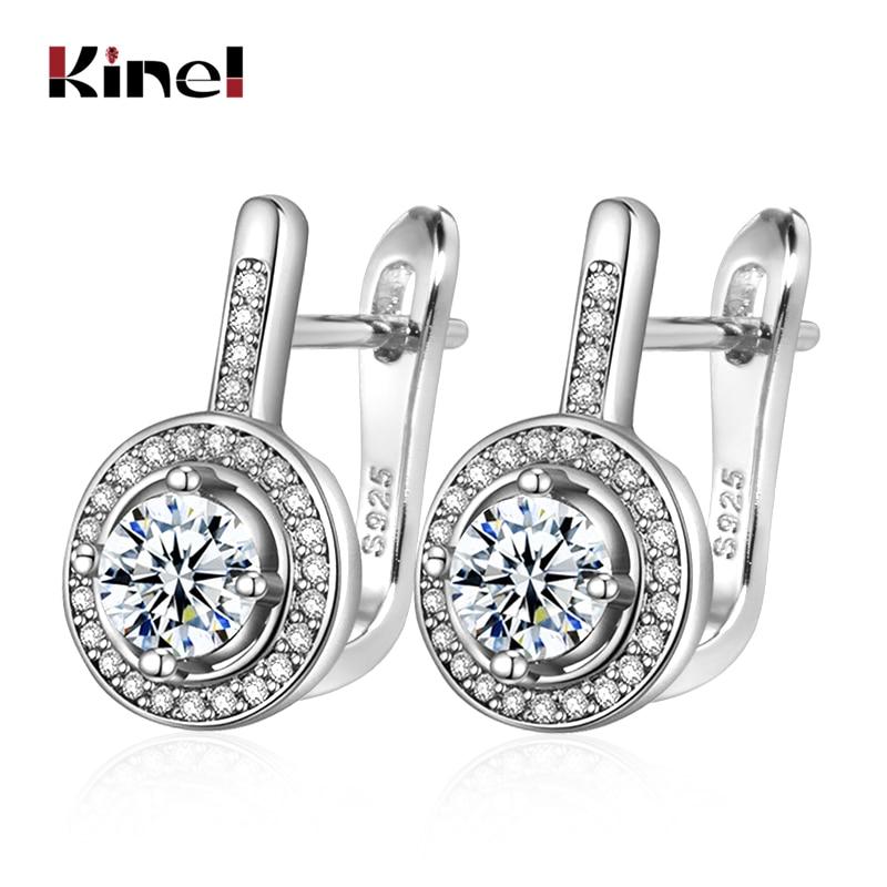 Kinel Simple Round CZ Zircon Stud Earrings For Women Fashion Silver Color Bridal Wedding Earrings OL Crystal Jewelry Gifts