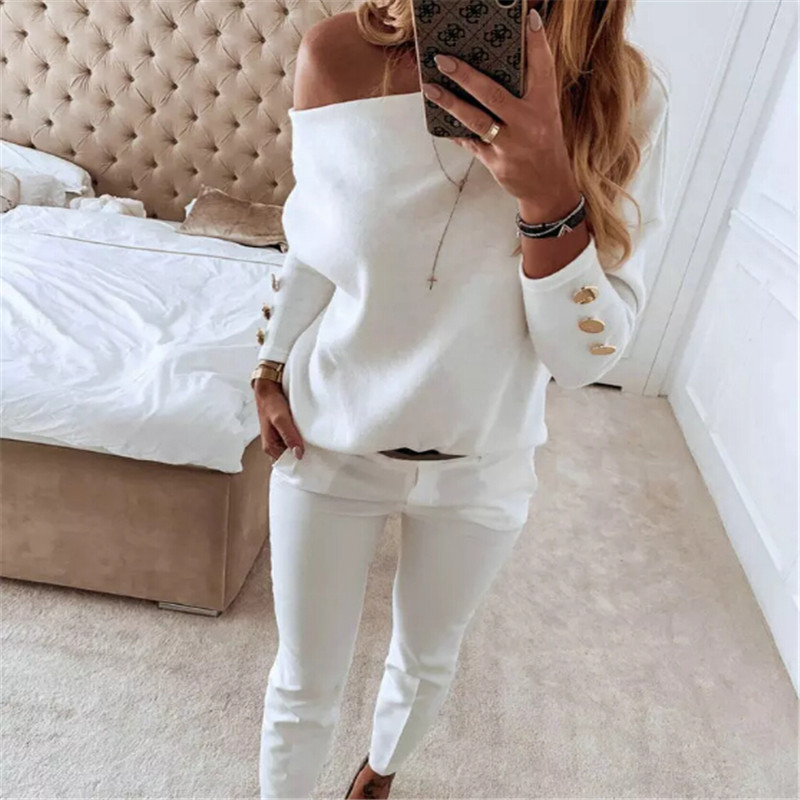 Women Off-Shoulder T-Shirt Ladies Solid Button Long Sleeve Autumn Winter Warm Casual Shirt Tee Loose Tops image