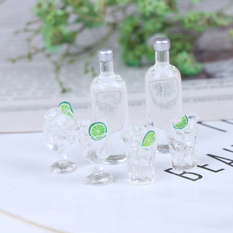 3Pcs Cute Mini 1:12 Dollhouse Miniature Wine Bottles Ice Cups Kitchen Pretend Play Toy Accessories