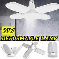 60 w 6500 k 4 lâmina led deformable garagem luz de trabalho loja luz teto para garagem sótão porão casa conduziu a lâmpada