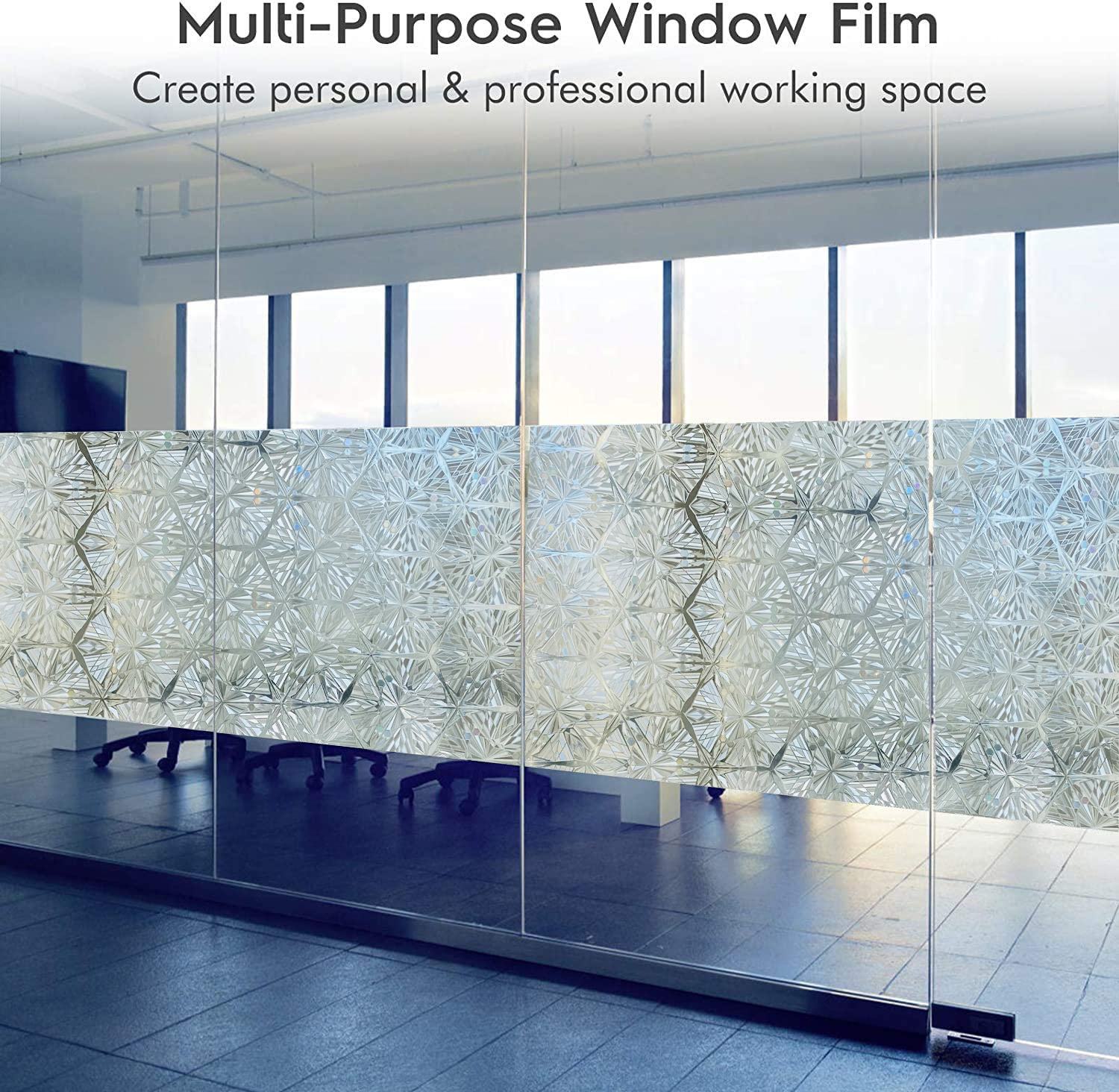 Privacy Stained Window Film Non-Adhesive Frosted Decorative Glass Film Static Cling Rainbow Window Stickers for Home 6