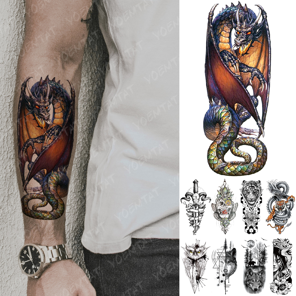 Waterproof Temporary Tattoo Sticker Dragon Knight Spitfire Flash Tattoos Tiger Owl Wolf Body Art Arm Fake Tatoo Women Men