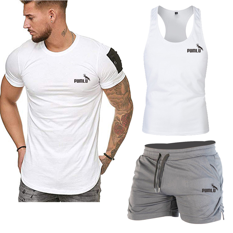 Biaolu New Style Men's 3-piece Leisure Fitness Sports T-shirt Vest Swimming Trunks Suit Summer Summer Men's Swimming Trunks Suit