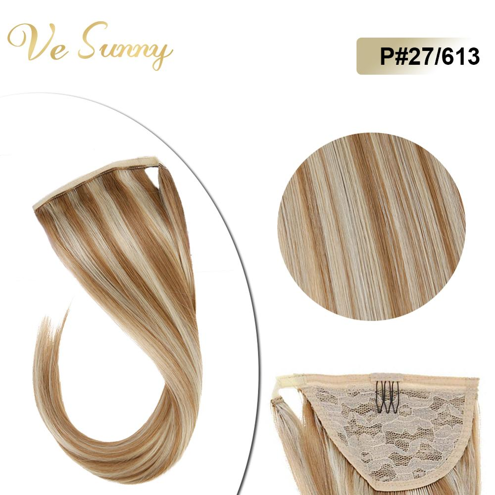 VeSunny Ponytail Extensions Wrap Around Magic Tape 100% Human Hair Highlights Caramel Mix Blonde #27/613