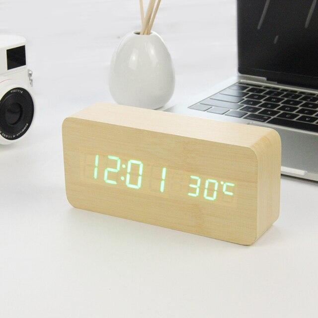LED Legno Alarm Clock Orologio Da Tavolo di Controllo Vocale Digitale di Legno Despertador Desktop Elettronico USB/AAA Alimentato Orologi Da Tavolo Decor 5