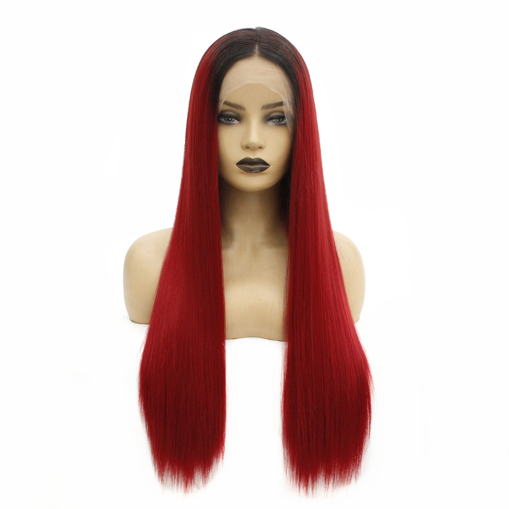 Synthetic Lace Front Wig Long Straight Middle Part Burgundy Synthetic Hair Women's with Baby Hair Heat Resistant Ombre Hair