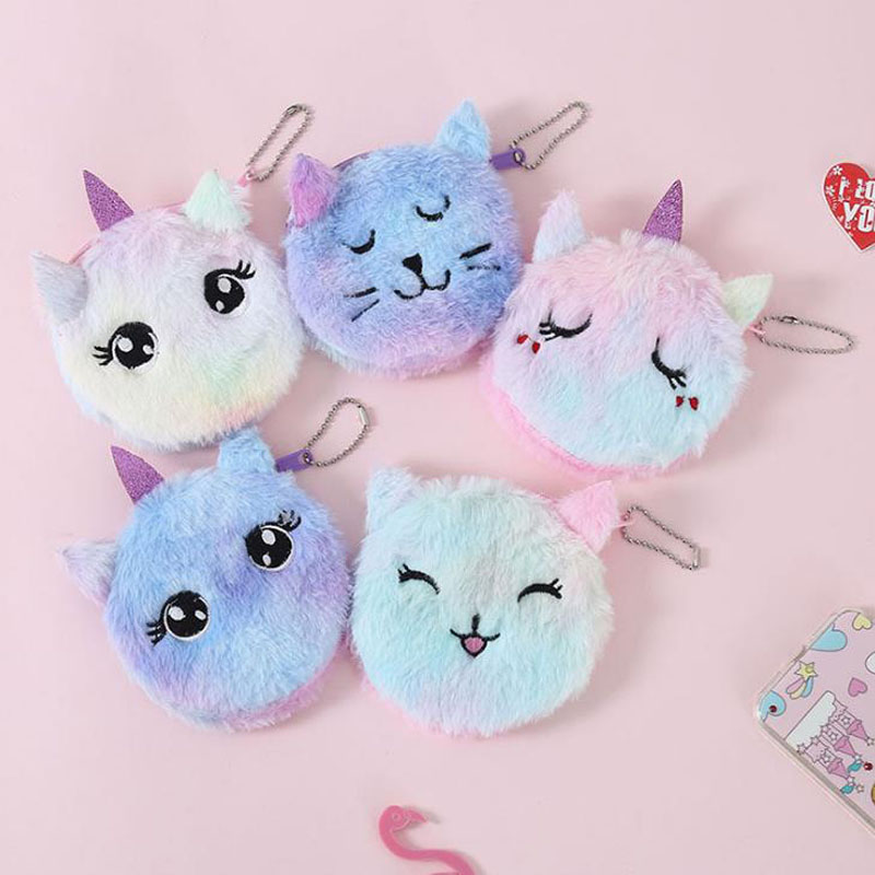 1 Pcs Kawaii Plush Unicorn Coin Purse Cat Fur Circle Wallet Girl Embroidered Bag Key Earphone Organizer Pouch Gift Stationery