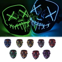 Halloween LED Glow Mask Modes EL Wire Light Up The Purge Movie Costume Party