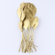 Wholesale 10Pcs Gold Goose Feathers For Crafts 15-20Cm Big Goose Feathers Decoration Carnival Wedding Accessory Pens Decorative