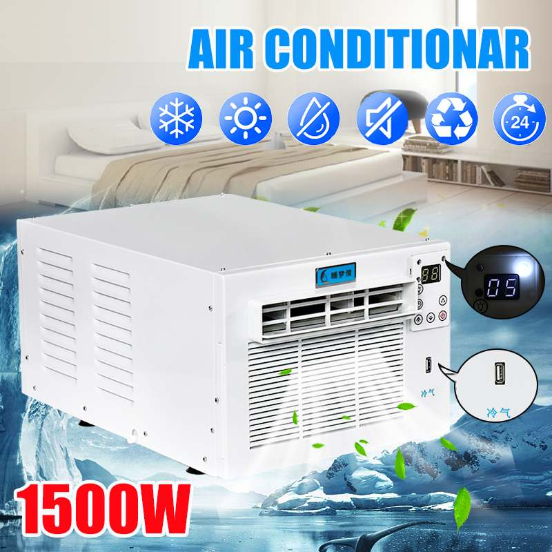 1500W Desktop Air Conditioner 220V/AC 24-hour Timer Cold/Heat Dual Use With Remote Control LED Control Panel Pet Air Conditione