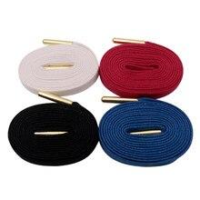 Lacets cirés en métal doré, 8MM, 100% coton, noir, blanc, rouge, bleu, unisexe, pour baskets en toile
