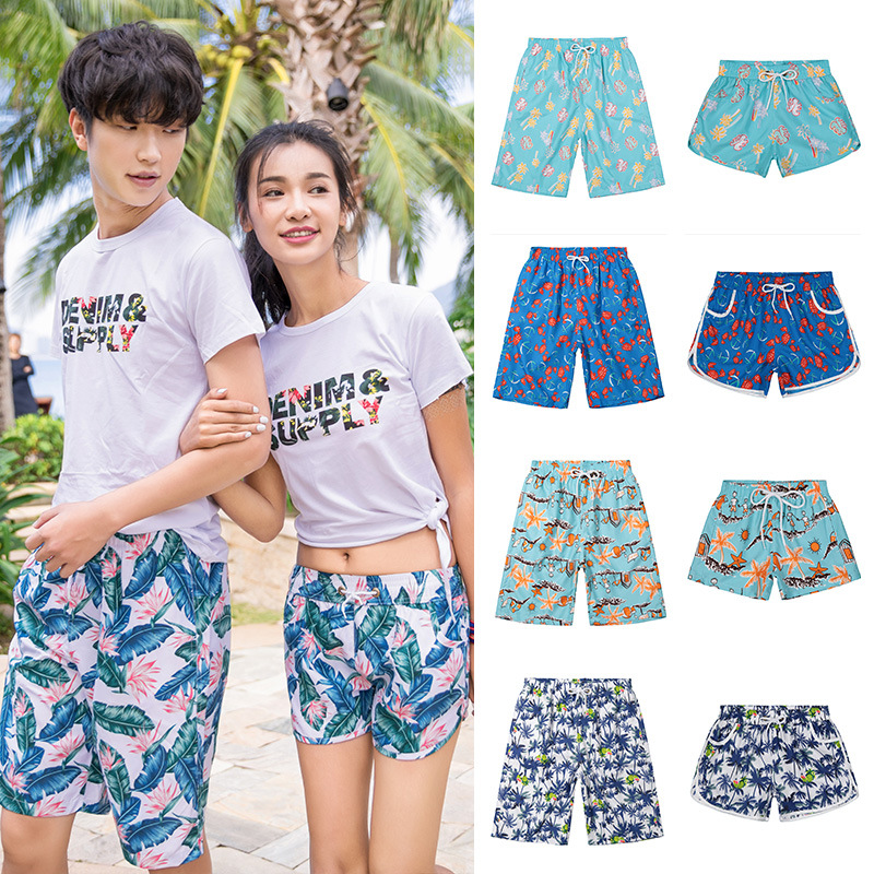 2019 New Style Beach Shorts Europe And America Quick-Dry Couples Beach Shorts Summer Short Shorts Loose-Fit Seaside Large Trunks