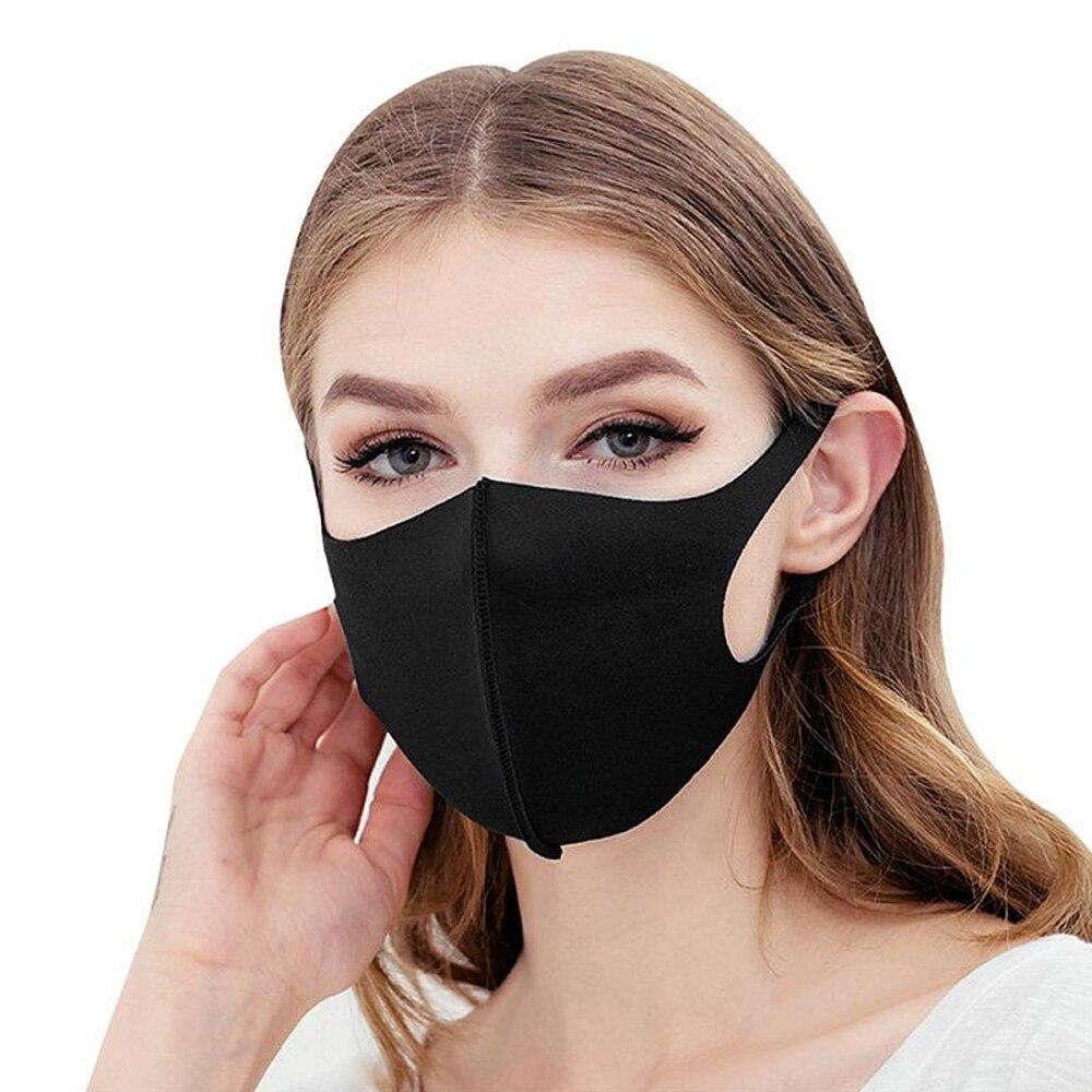 5PCS Black Kpop Mask Fashion Winter Warm Mask Breathable Washable Reusable Unisex Sponge Dust Mask