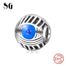Fit Authentic pandora charm beads Silver 925 Original blue enamel Devils Eye DIY fashion jewelry making for women gift