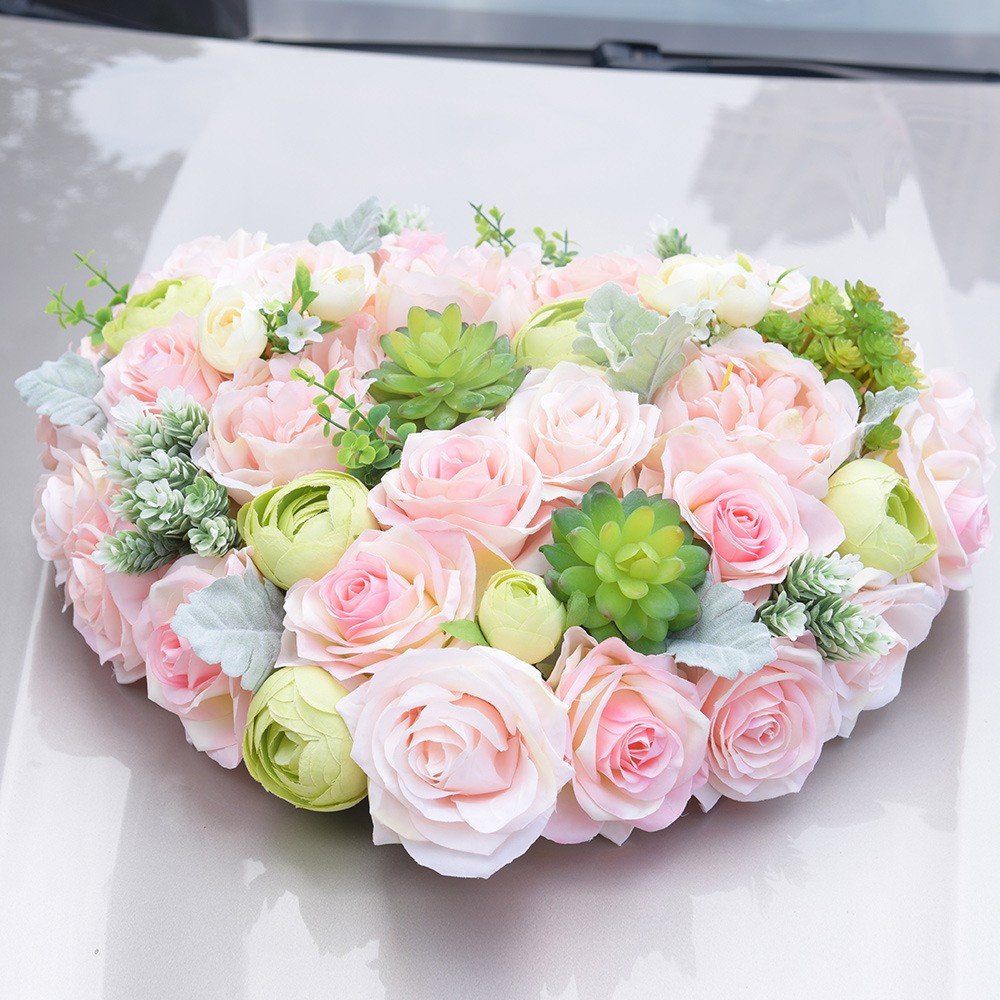 Stairway Decorated With White Tulle And Red Silk Roses: White Rose Artificial Flower For Wedding Car Decoration