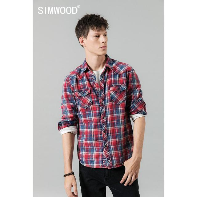 SIMWOOD 2020 Autumn winter new plaid shirts men casual check double pocket high quality 100% cotton shirt  190459