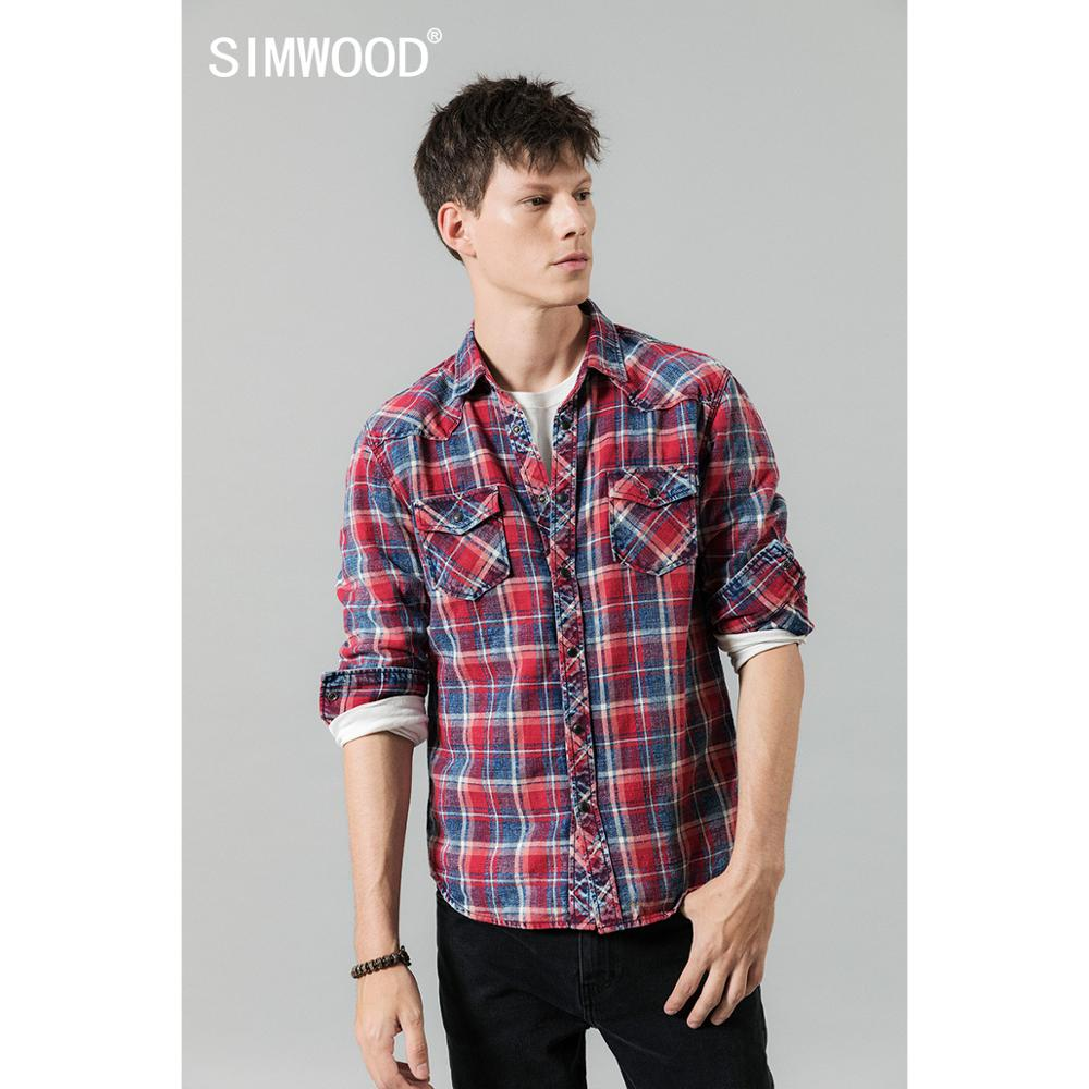SIMWOOD 2020 Spring Winter New Plaid Shirts Men Casual Check Double Pocket High Quality 100% Cotton Shirt  190459