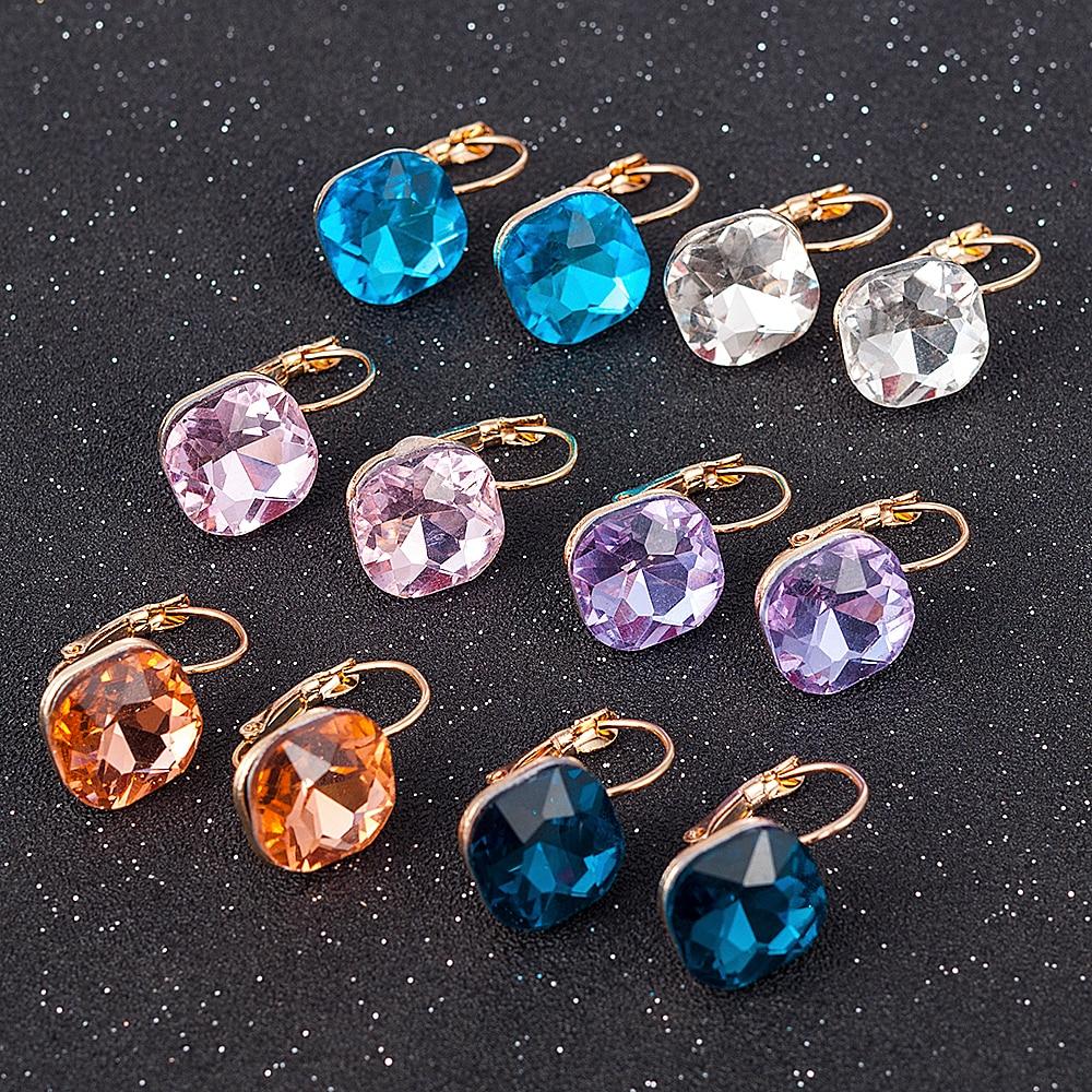 Fashion Gold Color Earring For Women Minimalist Earrings Crystal Cubic Zirconia Stud Earrings Stone Pendientes Mujer Moda