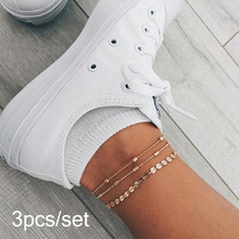 Bohemia Multilayer Crystal Anklet Set Fashion Sequins  Ankle Bracelets for Women Summer Beach Foot Jewelry Leg Chain Anklets 2020 new women s fashion cuban link anklets jewelry alloy shell bohemia beach gold anklet wholesale best friend gifts