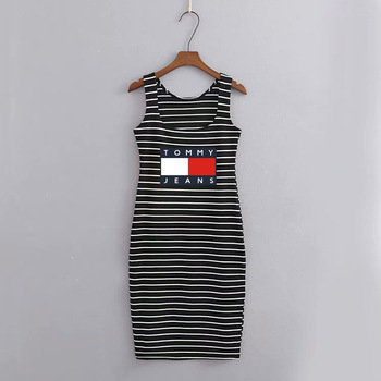 Tommy Hilfiger Summer dress Women Classic Stripe Dresses U-Neck comfortable KneeLength casual solid Simple Black and White Dress 1