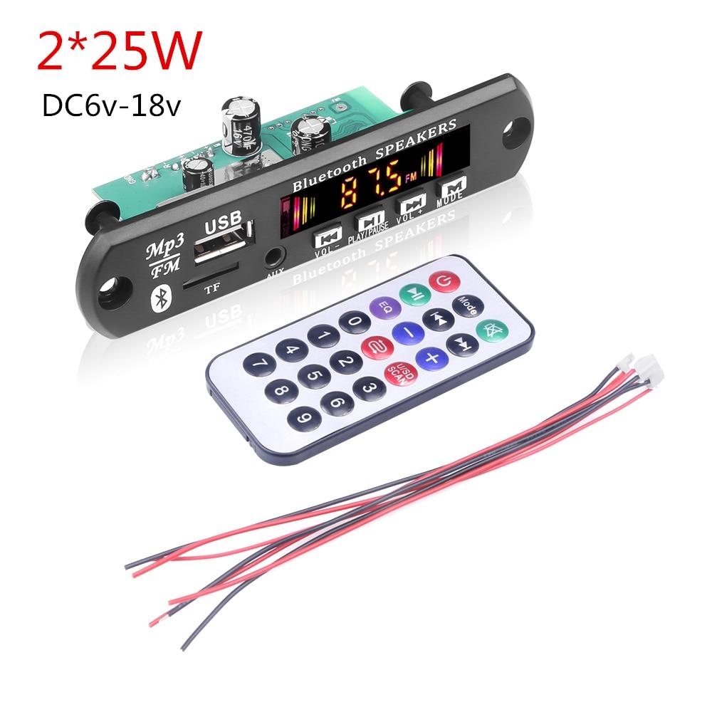 Kebidu 2*15/25 Вт усилитель Bluetooth 5,0 MP3 WMA WAV декодер плата 12В Беспроводная Музыка Аудио Modul USB TF FM радио для автомобиля