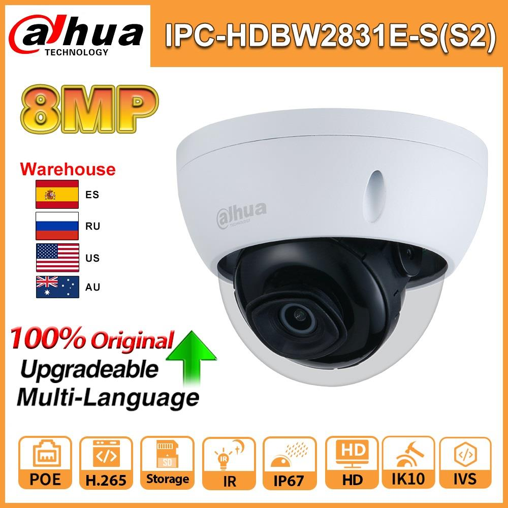 Dahua Orginal Ip Camera IPC-HDBW2831E-S(S2) Ir 30m Intrusion Tripwire Motion Detection SD Card Slot IP67 IK10