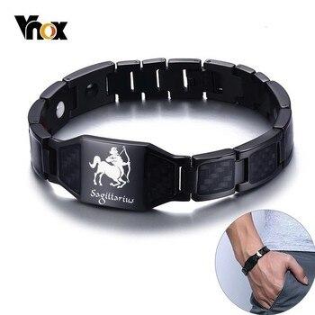 Vnox 12 Horoscope Sagittarius Symbols Power Bracelets for Men Stainless Steel Insert Carbon Fiber Heavy Punk Wristband 1