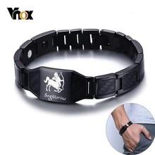 Power-Bracelets Punk Wristband Sagittarius Stainless-Steel 12-Horoscope Heavy Men Vnox