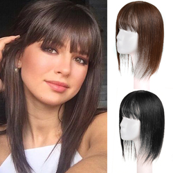 Парики LUPU из натуральных волос для женщин, прямые черные и коричневые волосы с челкой, Натуральные Искусственные волосы