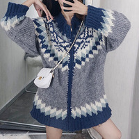XUXI High Quality 2020 New Women Sweater Loose Fit Hong Kong Taste Retro Early Spring Cardigan Leisure Coat Lady Sweaters FZ0374