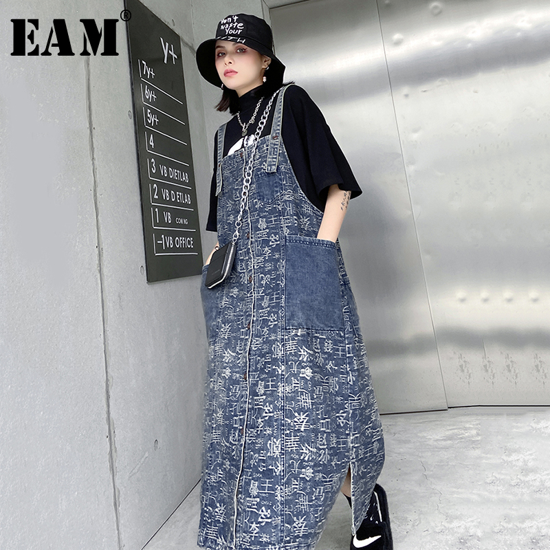 [EAM] Women Blue Vent Letter Printed Denim Strapless Dress New Sleeveless Loose Fit Fashion Tide Spring Autumn 2020 1T158