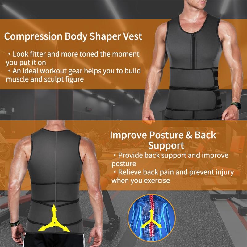 Neoprene Sweat Vest for Men Waist Trainer Vest Adjustable Workout Body Shaper with Double Zipper for