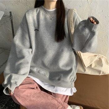 Sweatshirts Women Pullover 2021new pattern Streetwear Casual Long Sleeve Crewneck Oversized Fashion Hoodie Korean Girls S-XXL 1