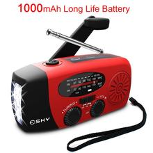 5-in-1 Emergency Portable AM FM Radio 1000mAh Power Bank Hand Crank Self Powered AM/FM/NOAA Solar Radios with 3 LED Flashlight