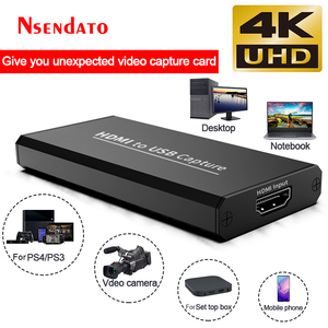 4K USB Video Capture Card USB 2.0 HDMI Video Grabber Record adapter for Youtube OBS Game DVD Camcorder Live Streaming Broadcast