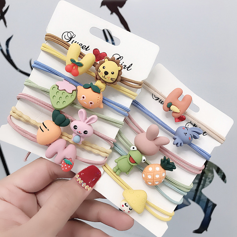 5Pcs/Lot Double Elastic Hair Rubber Bands Fruit Hairband Girls Headwear Cartoon Animals Headbands Fashion Women Hair Accessories