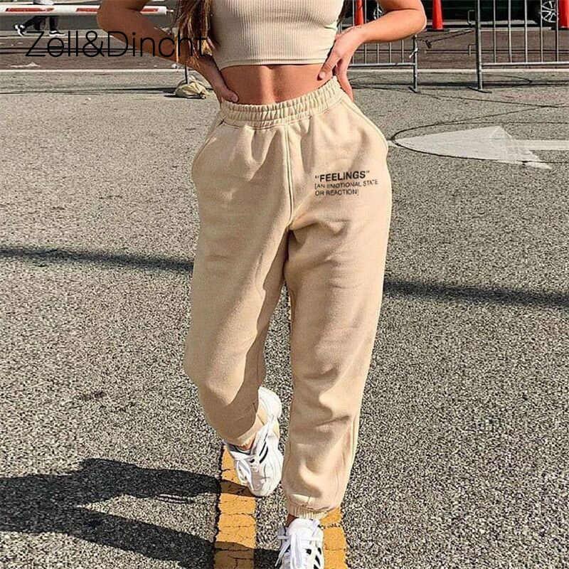 Zell Y Dincht Pantalon Carta Imprimir Pantalon Mujer Pantalon De Algodon De Cintura Alta De Mujeres Sueltos Hip Hop Casual Pantalones De Chandal De Las Mujeres 2020 Pantalones Y Pantalones Capri Aliexpress