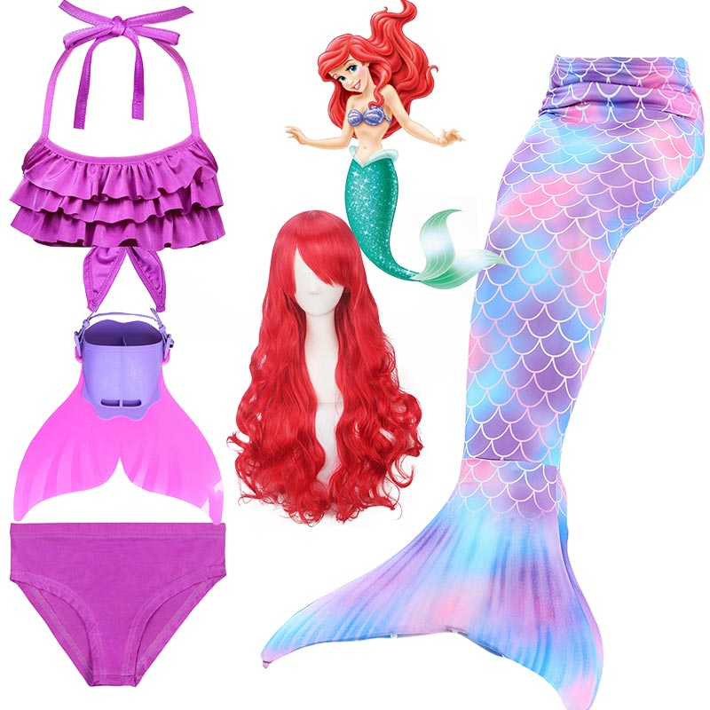 Kids-Girls-Mermaid-Tails-For-Swimming-Fin-Swimsuit-Bathing-Suit-Tail-Mermaid-Wig-for-Girls-Costume(1)