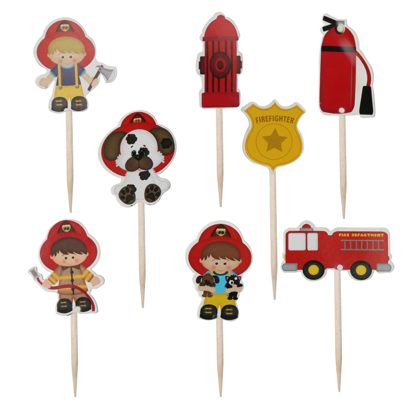 24pcs Firefighter Cupcake Toppers Fireman Fire Truck Cake Toppers Cake Picks for Baby Shower Kids Birthday Party Supplies image